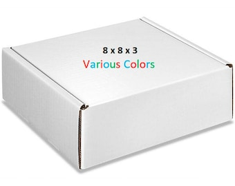 25 – Gloss Boxes 8x8x3 – Mailing Boxes of Various Colors - Cardboard Mailers – Packaging Supplies – Shipping Supplies – Storage Boxes