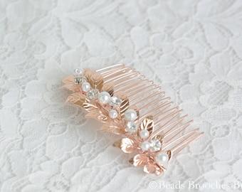 Crystal Pearl Hair Comb, Rose Gold Wedding Hair Comb, Rose Gold Leaf and Pearl Crystal Hair Comb, Blush Bridal Hair Comb, Leaf Hair Comb