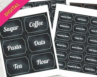 DIY, Food Labels, Printable Pantry Labels, Printable Labels, Pantry Labels, Jar Labels, Kitchen Decals, Pantry Organization, Herb Garden