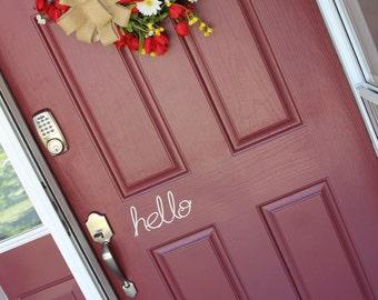 Hello Vinyl Door Decal  Front Door Decal