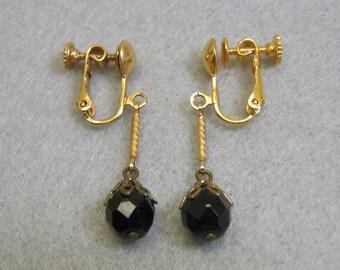 1960s Pretend Pierced Black Austrian Crystal Drop Clip Earrings