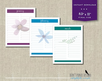 Printable Floral Calendar - Birthday Calendar - Anniversary Calendar - Colorful Eternal Planner - Instant Download PDF