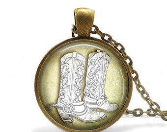 Cowboy Boot Necklace, Boot Necklace, Shoe Boot Necklace, Boot Spurs, Southern Necklace, Cowboy Outlaw Necklace, Shoe Spurs Necklace Pendant