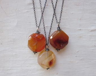 Natural carnelian pendant, stone layering necklace, organic gemstone necklace, oxidized sterling silver chain necklace, chunky stone pendant