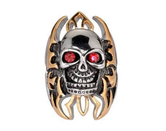 """Skull Flames Gold Tone Ring 1 1/2"""" Tall Imitation Rubt Eyes Stainless Steel Motorcycle Jewelry"""