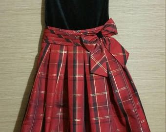 Little adorable girl red plaid vintage holiday dress of quality.