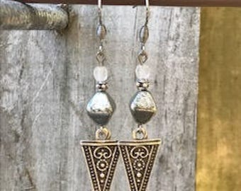 Silver Earrings, Bohemian Earrings, Silver Earrings, Rustic Earrings, Boho Jewelry, Gift for Her