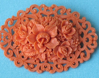 Brooch Pin Molded Coral Colored Celluloid Lacy Oval Intricate Openwork Detail Large Lily & Roses Leaves Japan Vintage 1930's