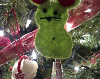 Felt mouse christmas ornament hand sewn