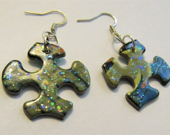 Upcycled Puzzle Piece Earrings: Green, Blue, Black, Multi-colored Sparkly Earrings