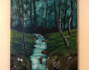 Forest stream oil painting