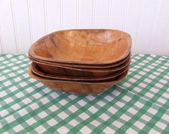 Vintage Pressed Wood Bowls, Snack Bowls, Set of 5