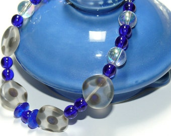 Blue Lapis Glass Round & Coin Glass Polka Dot Handmade Bead Bracelet