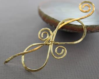 Modern infinity medium size brass shawl pin - Fibula - Gold tone pin - Simple pin - Minimalist shawl pin, Brooch - SP095