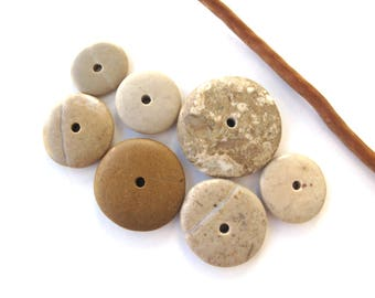 Rock Donut Beads Drilled Stone Spacers Beach Stone Beads Mediterranean Natural Stone Beads Diy Jewelry Pairs OATMEAL WHEELS 17-30 mm