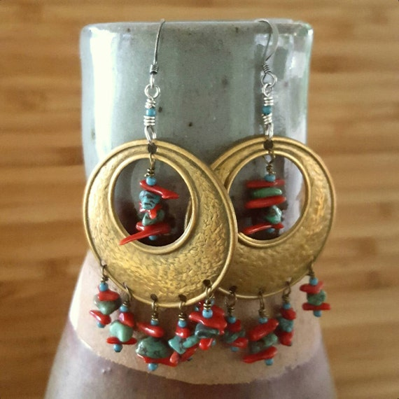 Turquoise Earrings with Red Coral