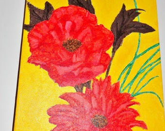 Red Flowers On Yellow Background Acrylic Painting