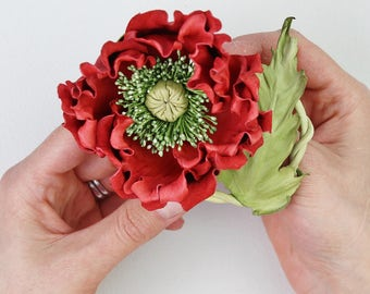 Red leather flower brooch, red leather poppy, leather anniversary, leather corsage, poppy brooch, poppy corsage, poppy pin