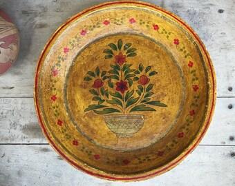 Paper Mache Large Shallow Bowl Mexican Folk Art Shelf Decor, Farmhouse Table Centerpiece