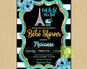 Teal Paris Baby Shower Invite, Ooh Lala Baby Shower Invitation, Paris Gold Glitter Baby Shower, Parisian Baby girl Shower, Bébé Shower Paris