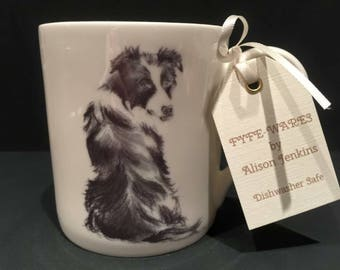 Border collie fine bone china mug