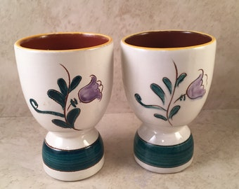 Vintage Pair of Egg Cups 2 Cup White Green Brown Flowers Handpainted