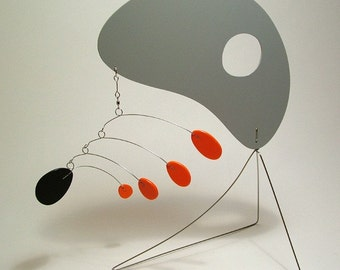 "Modern Mobile Stabile Art Sculpture ""Guy Pod"" handmade by Julie Frith, Home Decor, kinetic, Retro, MCM style"