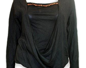 Hussein Chalayan Vintage Black Embellished Drape Wool Top