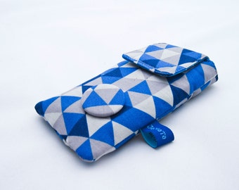 "Case for iPhone */iPod Touch */Smartphone/ Mobile Phone ""Paperboat"", size as requested, navy blue and white paperboats, gingham"