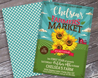Farmers Market Party Invitation - Farmers Market Party, Sunflowers | Editable Text DIY INSTANT Download PDF Printable
