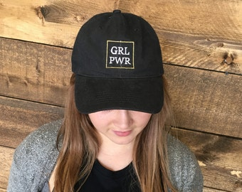 Embroidered GRL PWR dad hat or beanie
