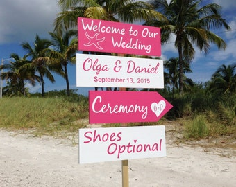 Pink White Welcome Wedding Sign, Beach Wedding Decor, Starfish Ceremony Shoes Optional Beach Sign