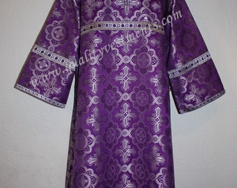 TO ORDER  Reader Acolyte Altar Server Robe Purple and Silver Metallic Brocade