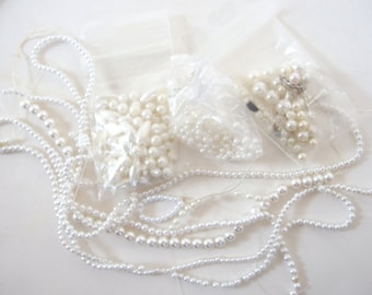Soft White Pearls Destash, Various Sizes, Shapes, 1 1/2 Ounces