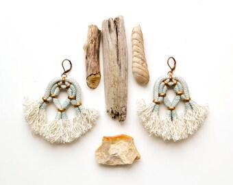 Tassel Earrings, Seafoam Earrings, Large Earrings, Statement Earrings, Boho Earrings, Abstract Earrings, Rope Earrings, Fringe Earrings
