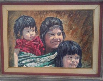 Original Oil Painting of a Mexican Mother and Her Two Children 1965
