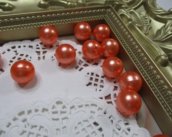 Vintage 14mm Orange Clementine Pearl Beads-Costume-Old Stock-Made in Japan