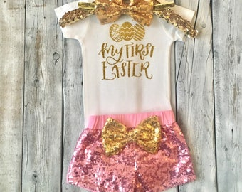 Baby girl 1st Easter outfit, First Easter outfit, newborn easter outfit, baby girls easter outfit, pink gold, My first easter, Easter shorts