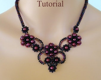 FRENCH KISS beaded necklace beading tutorial beadweaving pattern seed bead beadwork jewelry beadweaving tutorial beading pattern instruction