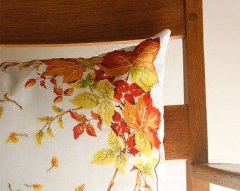 Handmade Pillow with Vintage Handkerchief, Autumn Leaves, Hostess Gift, Fall Colors, Warm Colors