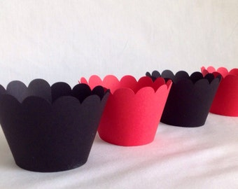 12 Count black and red  scallop cupcake wrappers Arizona cardinals