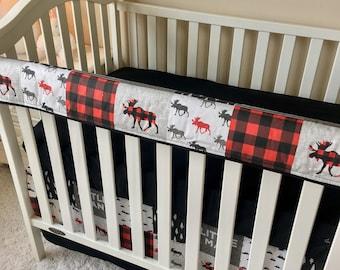 Red Moose Bumperless Bedding, Baby Boy Crib Bedding, Rustic Woodland Crib Bedding, Baby Boy Nursery