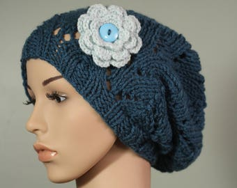 Super Slouchy Hat with or without Flower - Antique Teal - Handknit Cap - Women's - Glacier Flower - Interchangeable