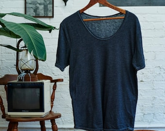 Vintage Charcoal grey wide neck T-shirt