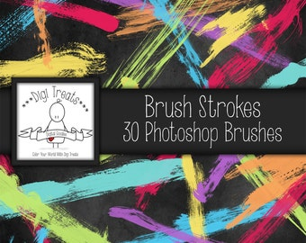 20% OFF Real, Brush Strokes Photoshop Brush Set (30 brushes) High Quality ~ Instant Download.