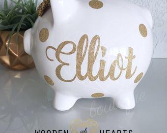 Gold Glitter Piggy Bank, Personalized Piggy Bank, Glitter Bank, Gold Bank, First Birthday Gift, Baby Gift, Baby Shower Gift, Baby Girl Gift