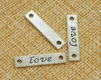 15pcs Antique silver love connectors jewllery finding  for hair clip / accessory DIY 5 mm x 25 mm (500-310D)