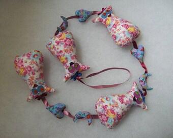 Garland pink Scarlett OWL blue hearts