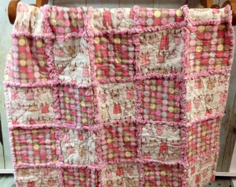 Infant Rag Quilt- Pink Sweet Baby