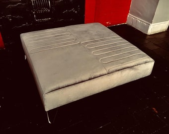 Silver Grey Large Luxury Footstool